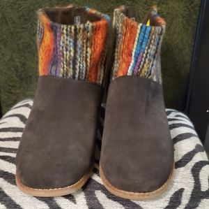 TOMS Leila Chocolate Brown Suede Bootie